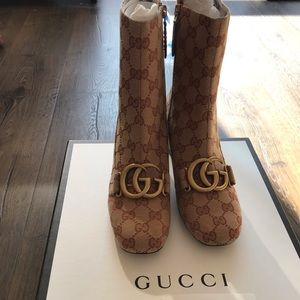 Gucci GG Canvas mid-heel booties